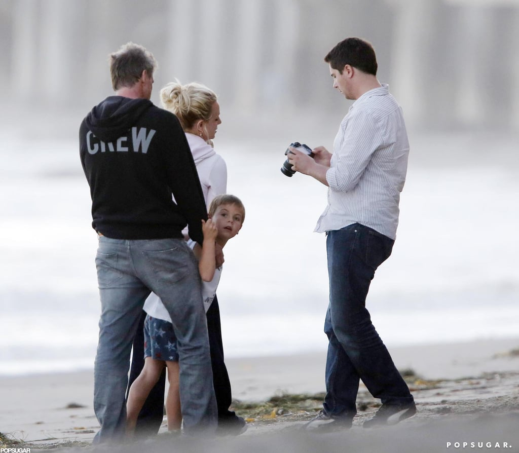 Britney Spears and her family hit the beach.