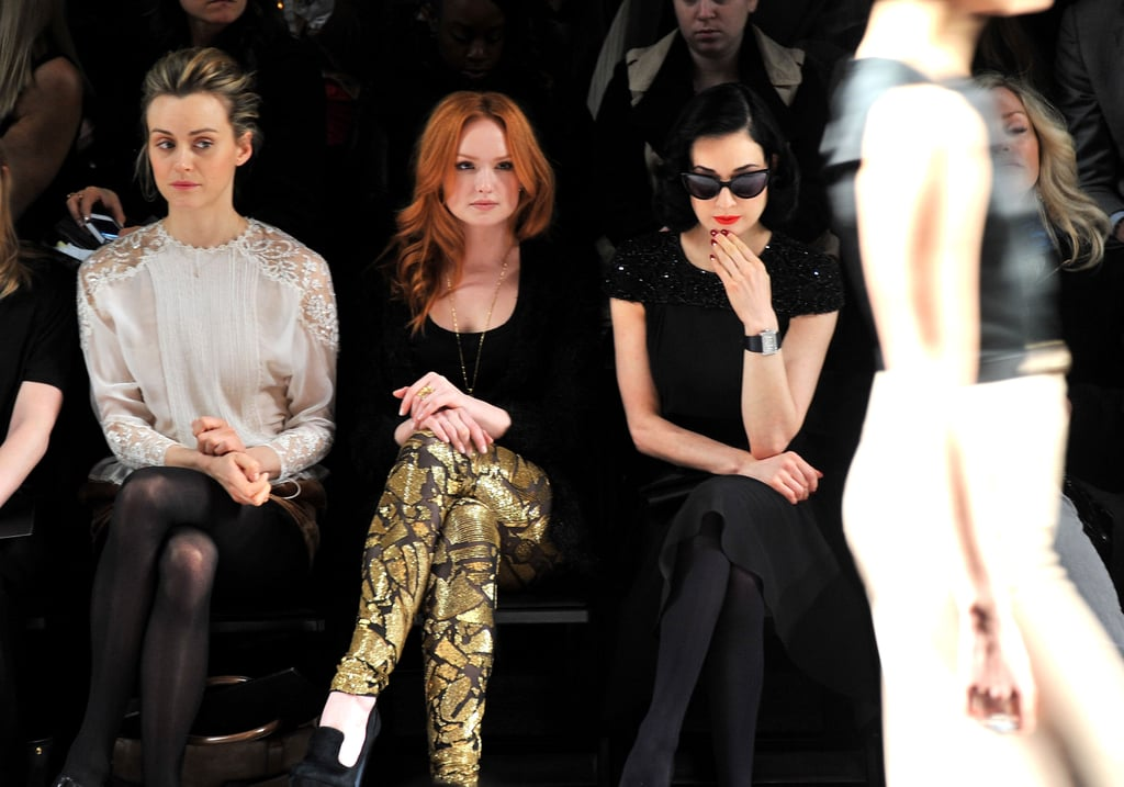 Taylor Schilling, Kaylee DeFer and Dita Von Teese at Jenny Packham