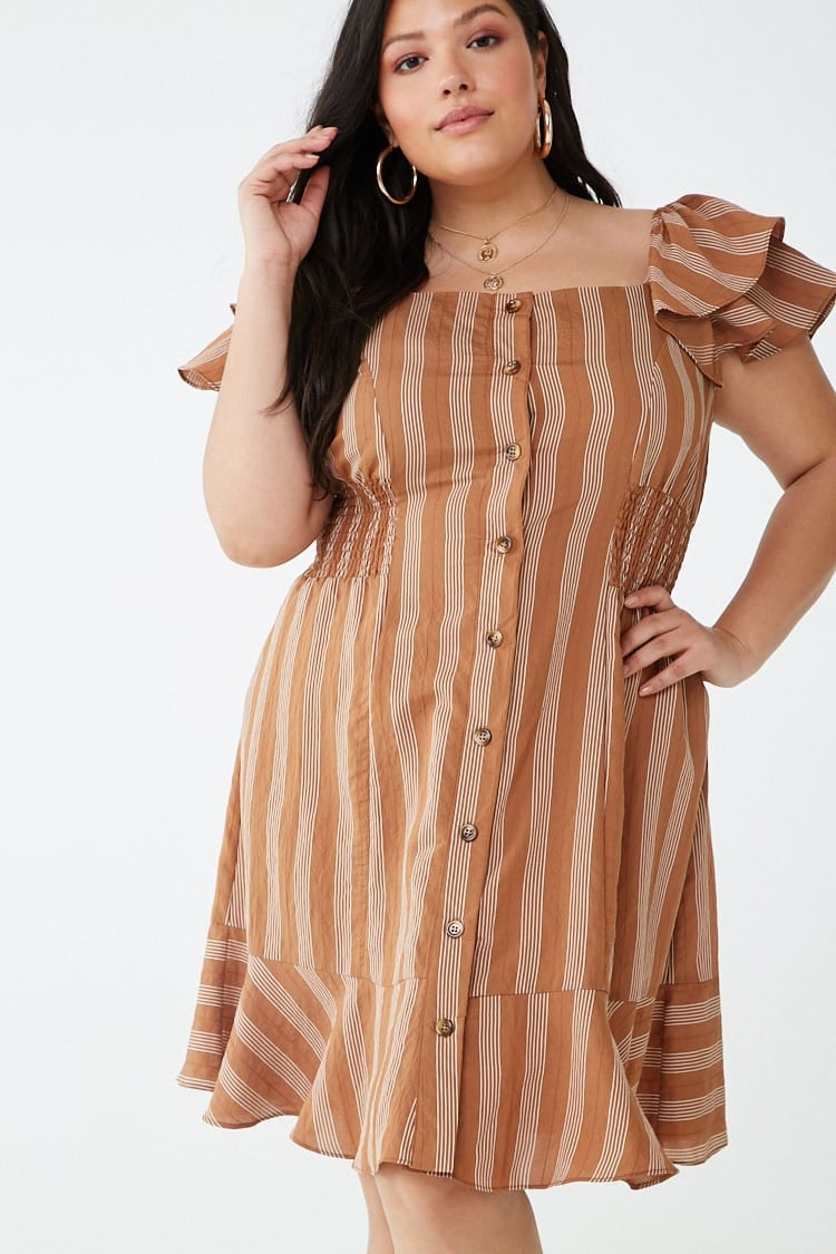 Plus-Size Pinstriped Button-Front Dress   Affordable Fashion ...