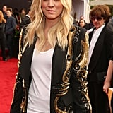 Kaley Cuoco opted for a glamorous blazer look.