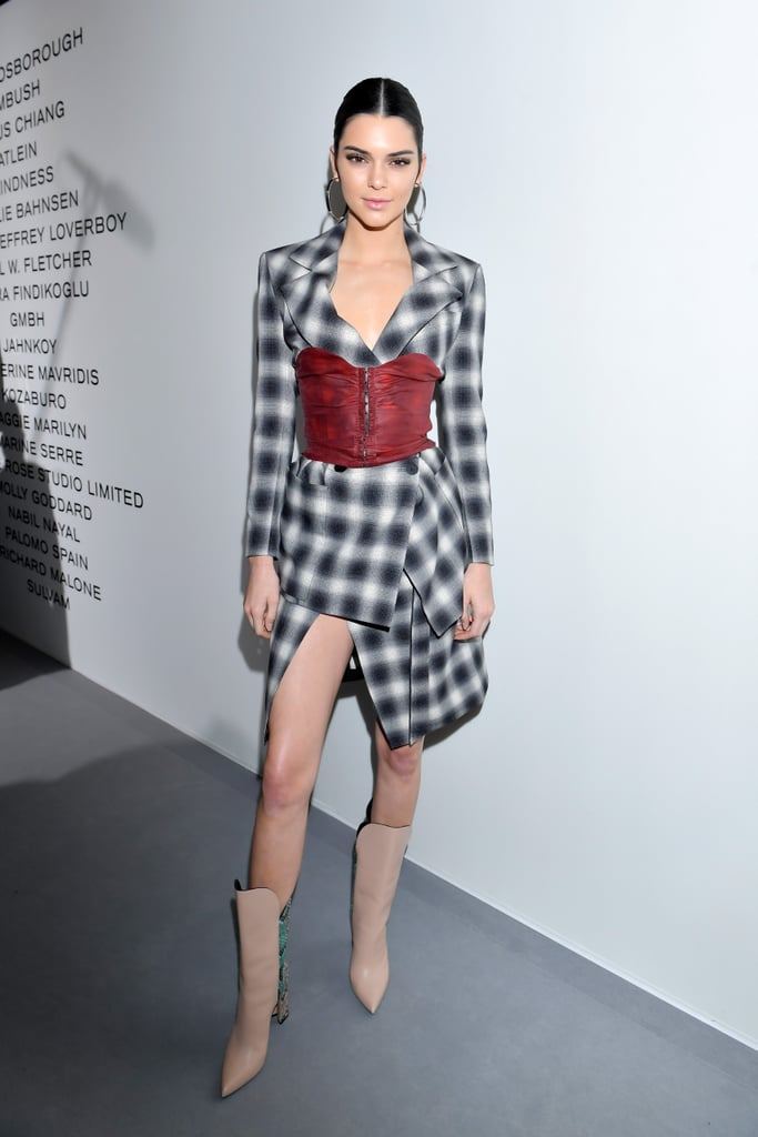 Kendall Jenner's boots seem plain from the front, but there's a cool snakeskin print on the back.