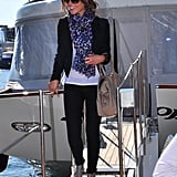 Kate Beckinsale was all smiles coming off of Johnny Depp's yacht at the 2010 Cannes International Film Festival — accessorizing her smart blazer with a purple leopard scarf and gray Christian Louboutin gladiators.