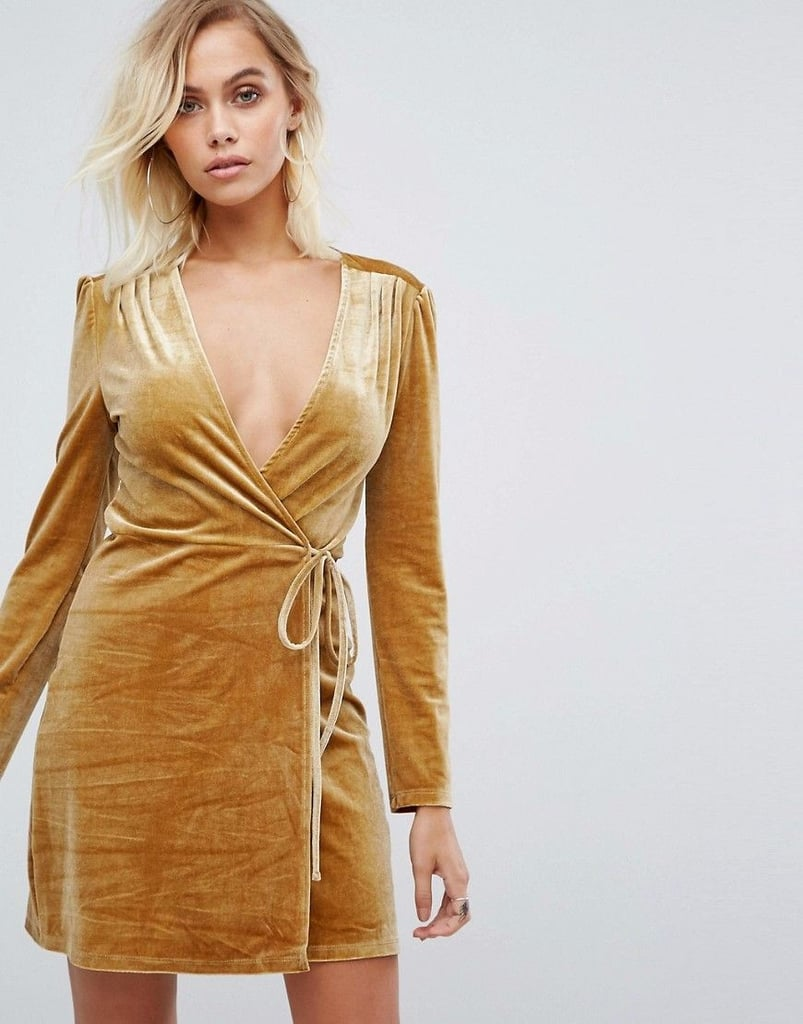 velvet dress clothes union wrap golden popsugar dresslover