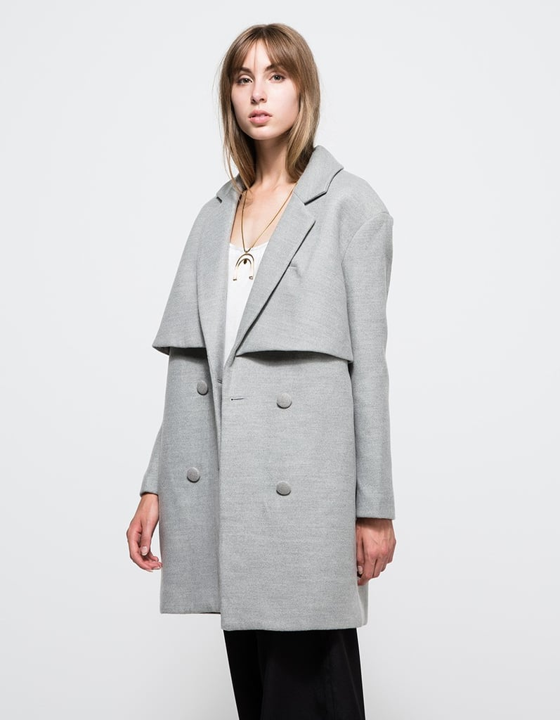 tailored jacket pin black leather hooded drapes vince coat drape product collarless