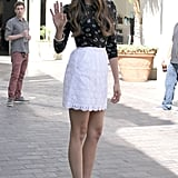 Nina Dobrev waved as she arrived at The Grove.