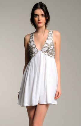 Adam Crinkle Chiffon Chain Link Deep Vee Dress