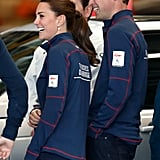 The duo shared a laugh at the America's Cup World Series team base in Portsmouth, England, in July.