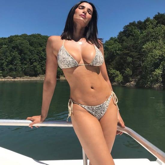 Padma Lakshmi Snake Print Bikini July 2018