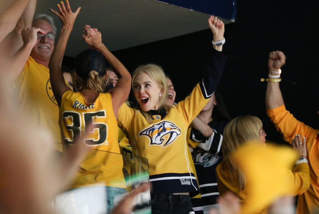 Nicole Kidman and Keith Urban couldn't contain their excitement as they watched the Nashville Predators defeat the Pittsburgh Penguins during the Stanley Cup Finals Game 3 on Saturday. Donning custom yellow jerseys, the Australia natives looked completely in their element as they cheered on the home team at Bridgestone Arena. Not only did Keith sing the national anthem, but the pair was also caught sharing high fives with Martina McBride and her family during the game. And they're not the only country singers showing off their Preds Pride this season. Carrie Underwood, who is married to NFL player Mike Fisher, showed her unwavering support for her husband's team by posting a sweet video compilation of her and her friends attending his games.      Related:                                                                                                           Nicole and Keith Bring Their Aussie Love All Over the World