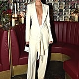 Kendall rocked quite possibly the most deep-cut neckline we've ever seen on a suit while attending a dinner event for The Business of Fashion. The loosely clasped top made it look like she was one move away from a wardrobe malfunction, if ya' know what I mean.