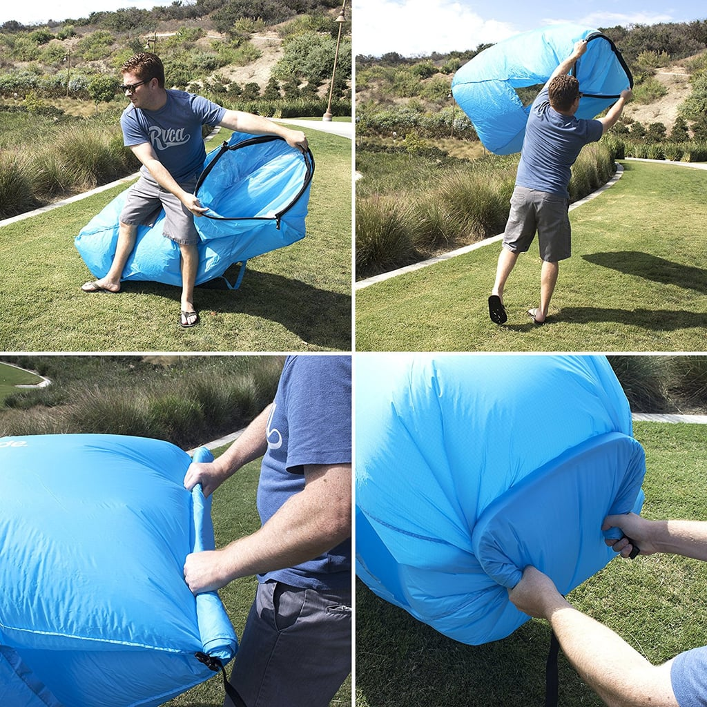 To inflate the chair, you open the chair's mouth widely and run in a circle, filling it with air. Then you roll the mouth shut, clip it to trap in air, and you're ready to sit!