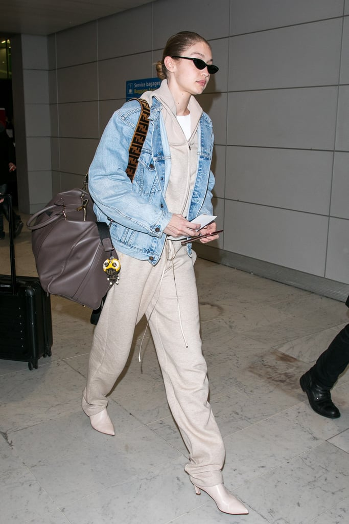 Gigi Hadid Wearing Tan Booties at the Airport
