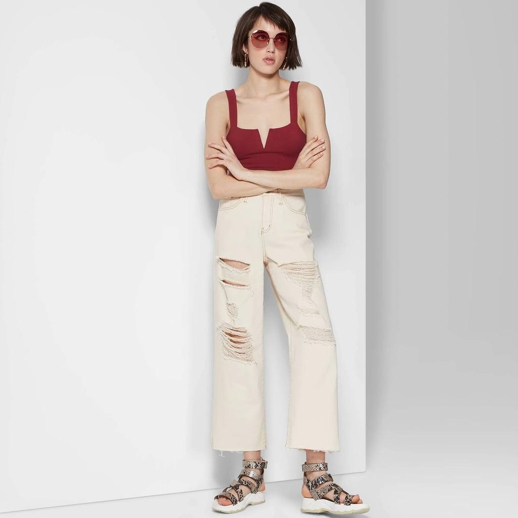 ebf7a8a64a7426 Women's High-Rise Destructed Wide Leg Cropped Denim Pants | Best ...