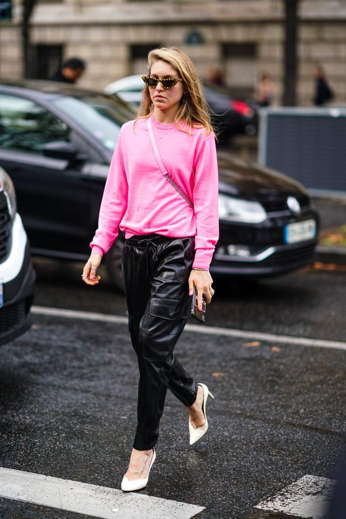 Leather Pants Outfit Idea: Pink Sweater + White Heels