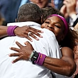 Serena and Richard Williams embracing at the 2012 Wimbledon Lawn Tennis Championships in London.