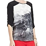 A graphic print makes this BCBG Max Azria Addy Printed Silk Back-Drape Top ($198) the ideal option for mixing up with our sportier fare like a pair of slick bottoms and high-tops; but if you prefer a contrast, add it to a ladylike pencil skirt.