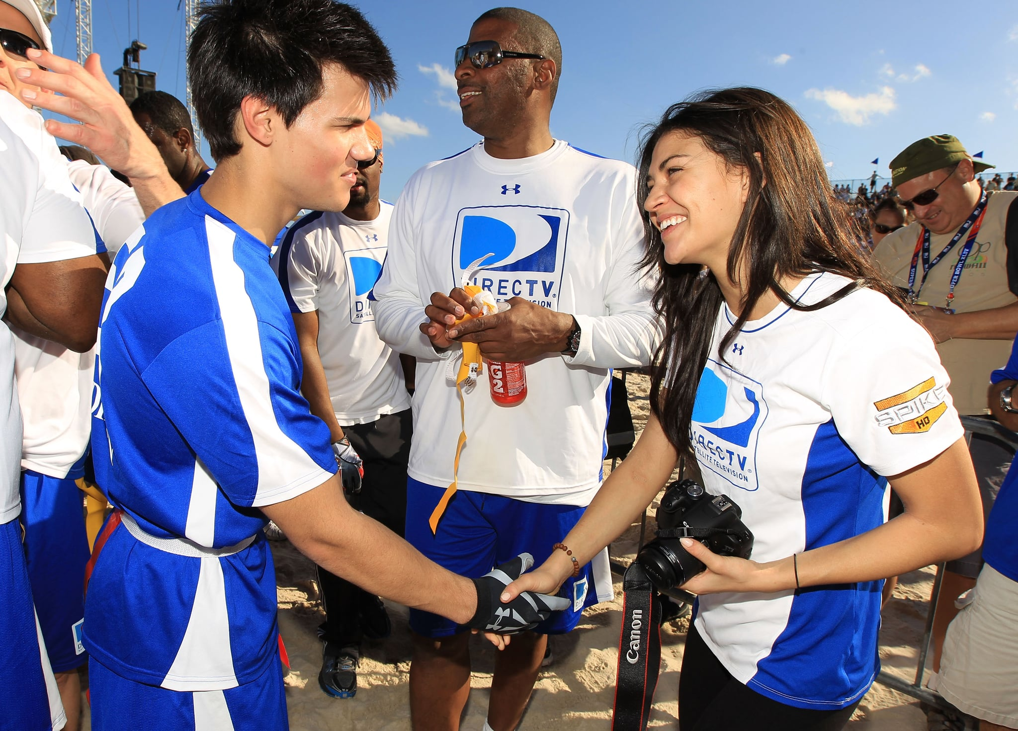Taylor lautner at the celebrity beach bowl