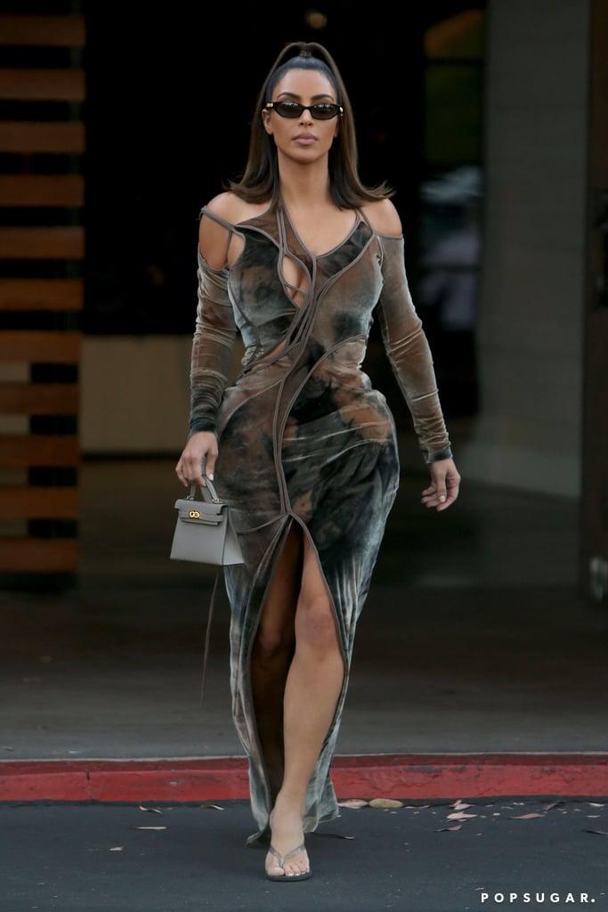 Kim Kardashian's Velvet Cutout Dress Instagram 2019