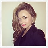 Miranda Kerr snapped a selfie while showing off a cute new coat. Source: Instagram user mirandakerr