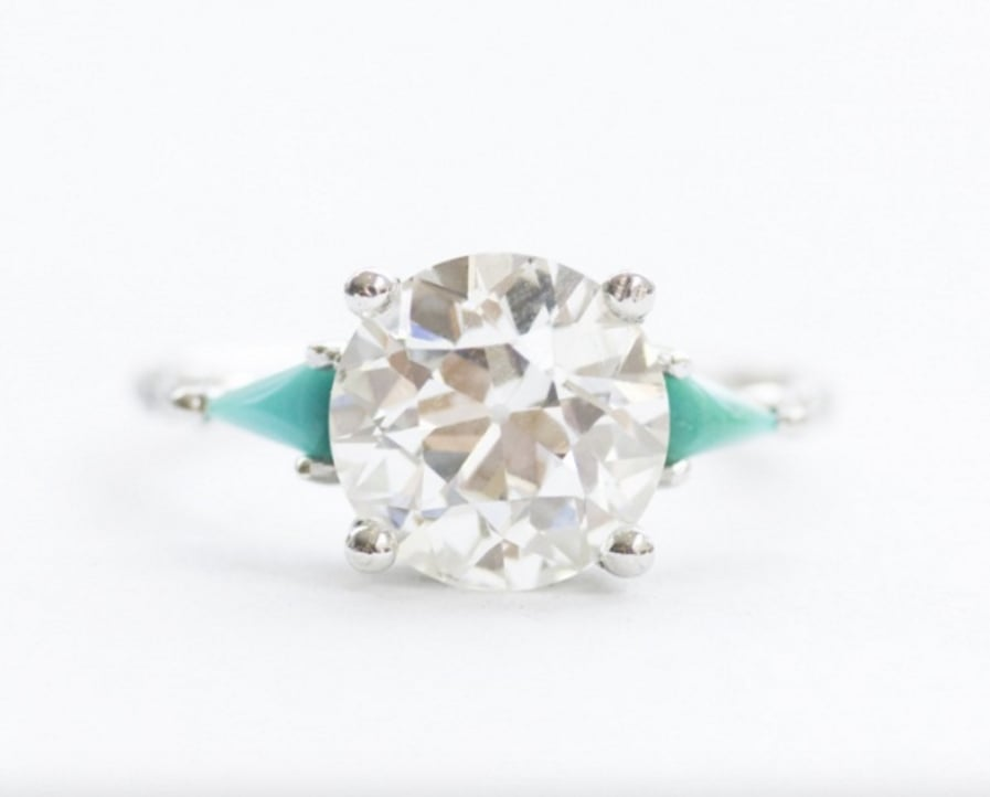 Mociun diamond and turqoise ring (price available upon request)