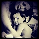 Christy Turlington shared an old snap of her with one of her children. Source: Instagram user cturlington