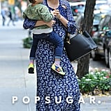 Miranda Kerr and her son, Flynn Bloom, walked down the street in NYC.