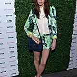 Louise Roe wore a bright shorts suit.