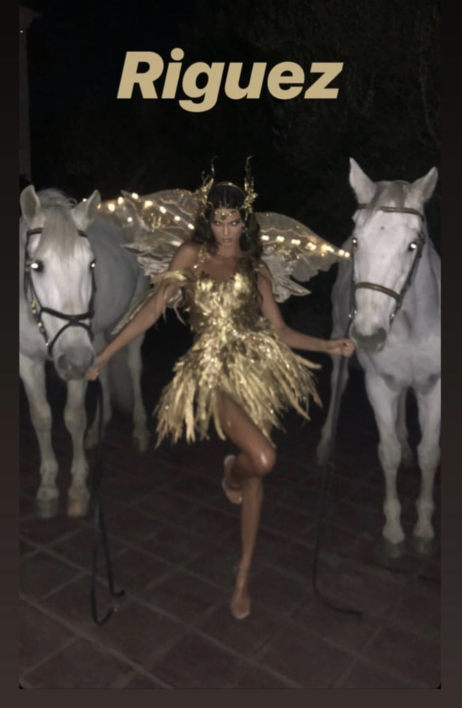 Kendall Jenner celebrated her birthday a few days early with a star-studded Halloween bash in Los Angeles on Oct. 31. The model — who turns 24 on Nov. 3 — dressed as a golden fairy and partied the night away with her nearest and dearest, including Kylie Jenner, Kourtney Kardashian, Rob Kardashian, Kacey Musgraves, Hailey Baldwin, Gigi Hadid, and Bella Hadid. Kourtney kept things sexy in a Kacey Musgraves-inspired costume, while Gigi was nearly unrecognizable as Jim Carrey's character from The Mask. For her birthday last year, Kendall celebrated on a party bus and sang karaoke, but I think this party definitely topped that. See photos from the Halloween festivities ahead!      Related:                                                                                                           118 Times Kendall Jenner Was the Sexiest Person Within a 100-Mile Radius