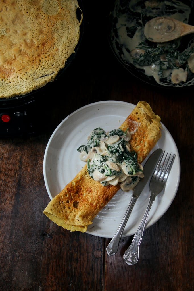 Chickpea Crepes With Creamy Mushrooms and Spinach