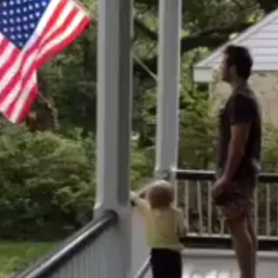 Chris Pratt Doing the Pledge of Allegiance With His Son