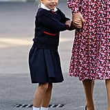 Princess Charlotte Hiding Behind Kate Middleton at School