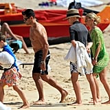 Kelly Ripa visited the beach in Oahu with her husband, Mark Consuelos, and son Joaquin.