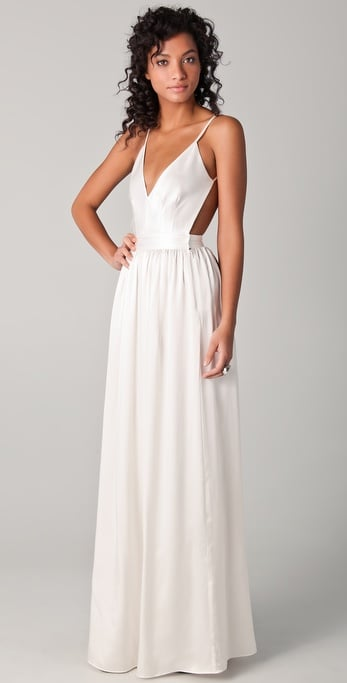An ultraelegant find with a sultry open back.  One By Contrarian Babs Bibb Maxi Dress ($425)
