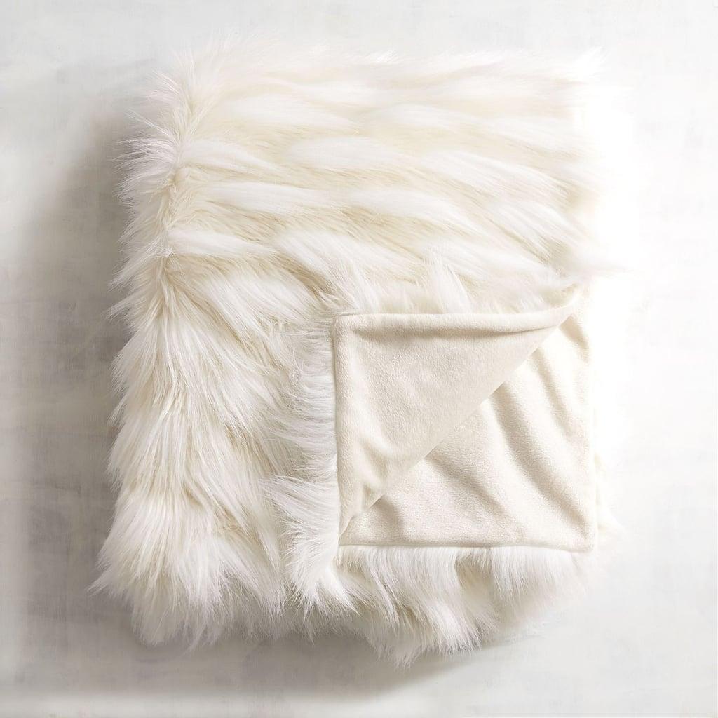 Faux Fur Ivory Throw