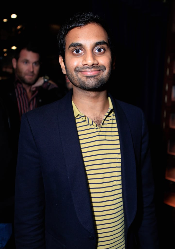 Comedian, and friend, Aziz Ansari mingled with Mindy and her guests.