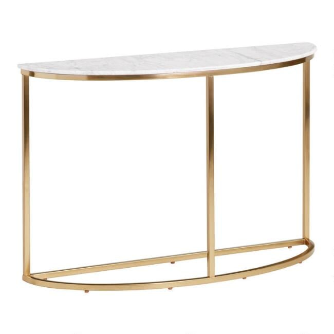 Half-Round White-Marble Milan Console Table
