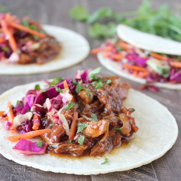 Slow-Cooked Korean BBQ Chicken Tacos