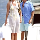 Penny Lancaster and Rod Stewart followed their June 2007 wedding in Portofino, Italy, with a honeymoon off the coast.