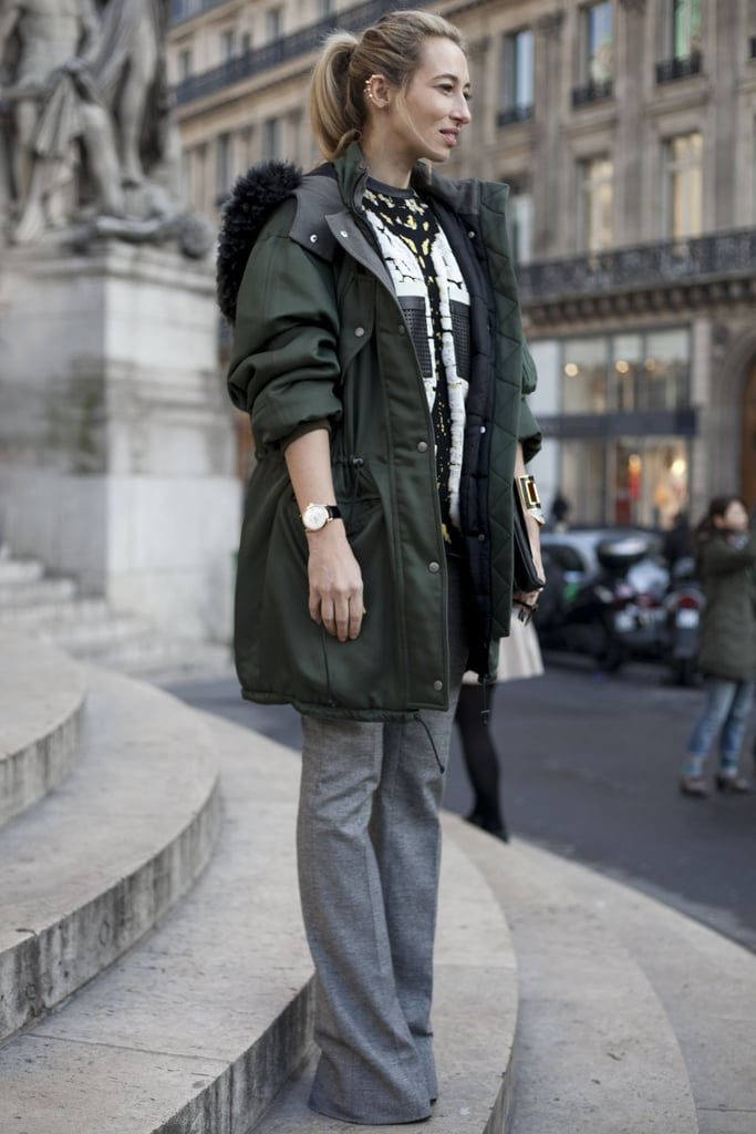 A staple anorak was the sporty counter to polished flares and textured knit.