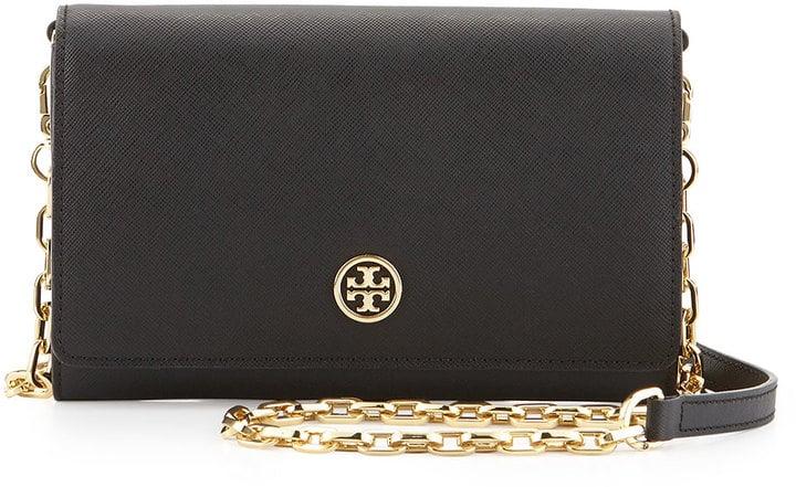 Tory Burch Robinson Saffiano Wallet-on-a-Chain, Black ($295)
