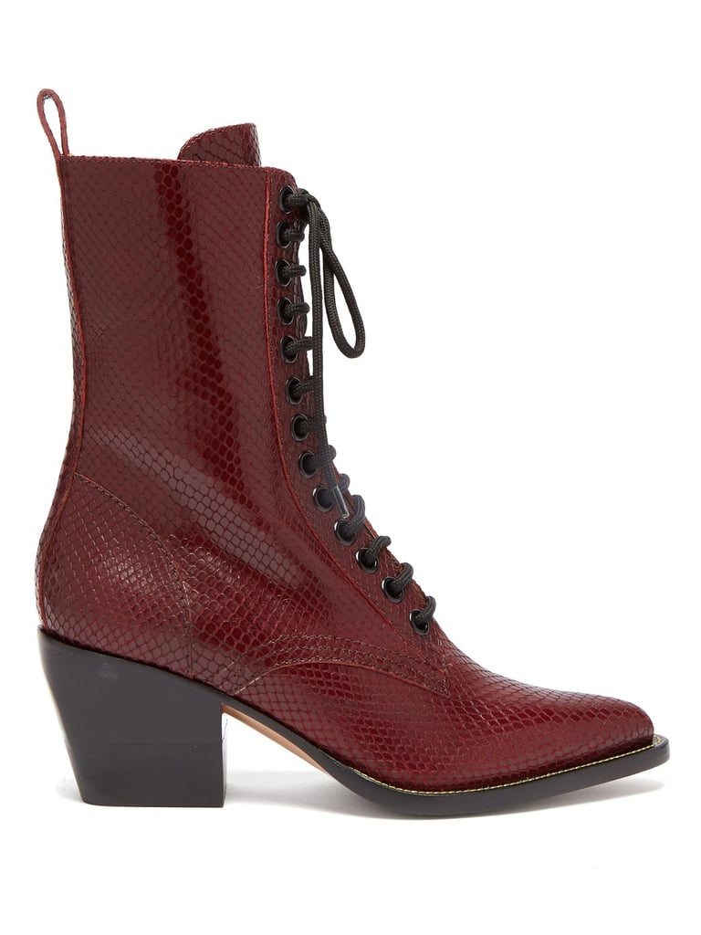 Chloé Snakeskin Effect Lace-Up Leather Boots
