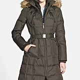 Kensie Belted Down & Feather Fill Maxi Coat
