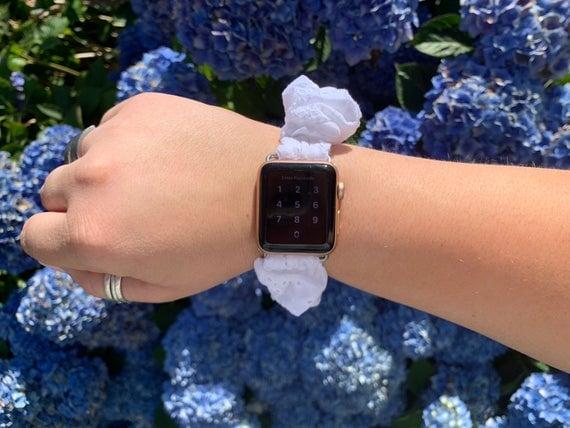 White Eyelet Scrunchie Watch Band