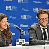 Anna Kendrick and Seth Rogen chuckled during the Toronto Film Festival press conference for 50/50.