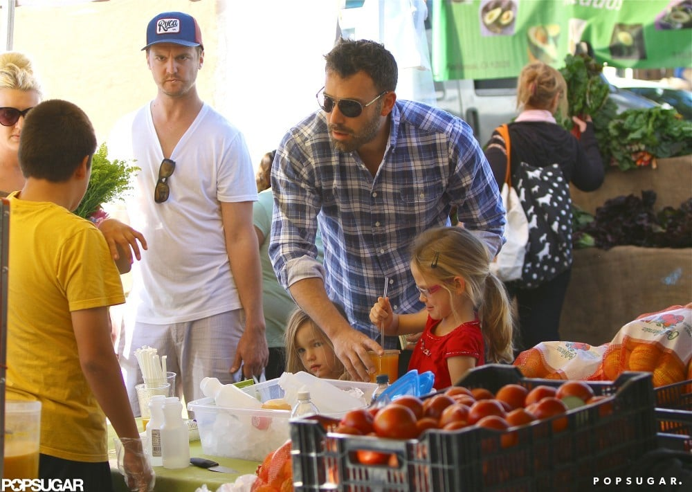 Ben Affleck took Seraphina and Violet Affleck to the farmers market.