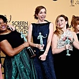 The cast of Orange Is the New Black happily posed with their trophies in 2015.