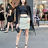 Jacquelyn Jablonski bared her midriff in black and tan separates outside the NYC DVF boutique.