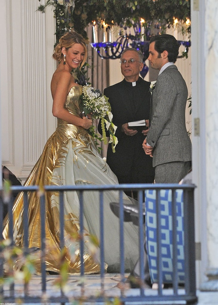 You might still be reeling from the pictures of Chuck and Blair's wedding on Gossip Girl, but the craziness doesn't end there: Serena and Dan may also be tying the knot in the series finale! These additional photos from the set show Serena in a huge gold dress (perhaps a throwback to her cotillion dress?) alongside Dan in dapper duds. Even Jenny is making a triumphant return to the Upper East Side for the occasion, but is it for real? These two aren't exactly on great terms right now, so perhaps this could be a dream sequence or a flashforward. Either way, these pictures are worth a second (and third) look, so check 'em out.