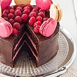Chocolate-Raspberry Layer Cake With Macarons