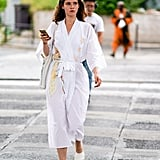 When wearing a robe looks this chic, it's always OK.